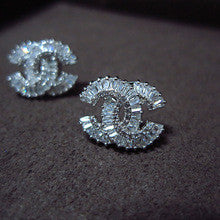 Lilly double C Crystal stud earrings - ebrook lael