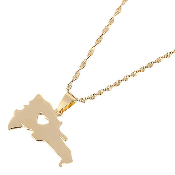 Dominican Republic Map Pendant Necklace  (TF) - ebrook lael
