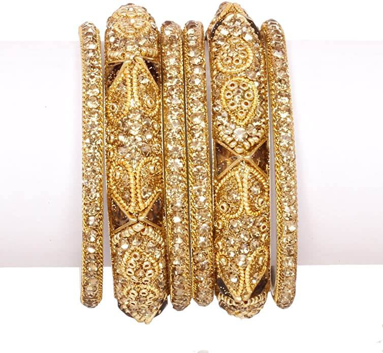 Golden Stone  Bollywood bangle set (2.6) - ebrook lael