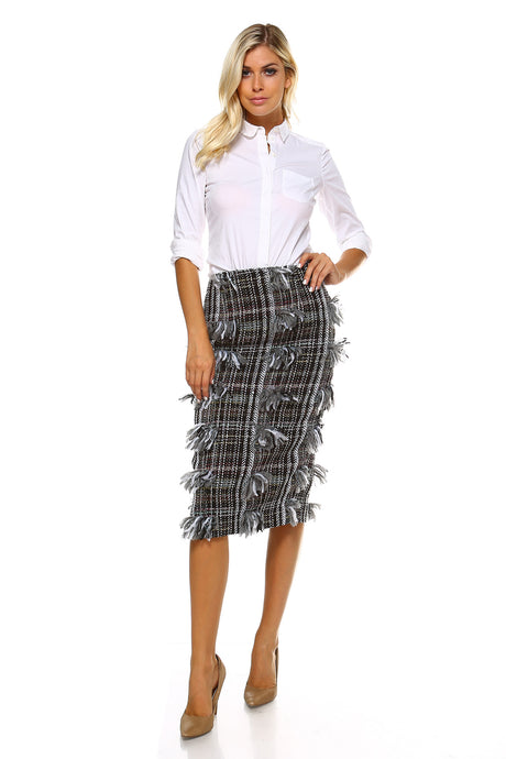 Knee length beautifully textured  A-line Pencil Skirt in black & white - ebrooklael