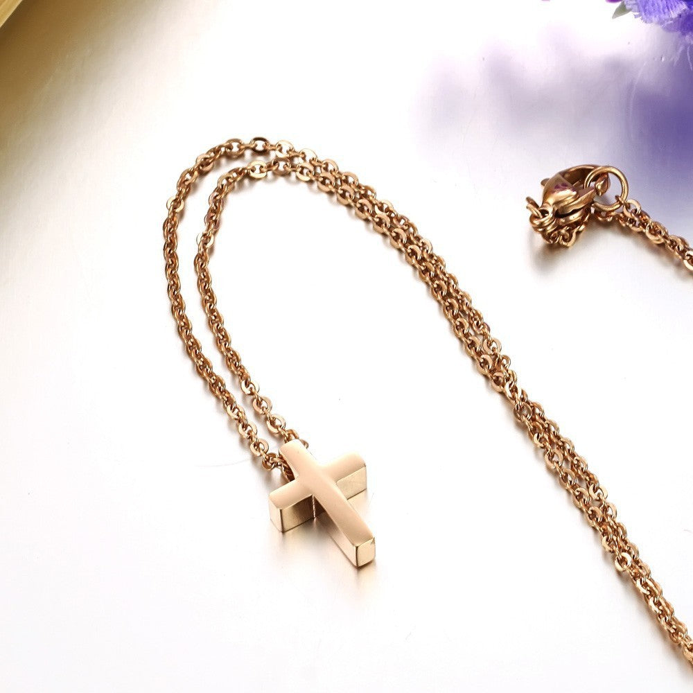 CROSS -ROSE GOLD  Necklace TARNISH FREE - ebrook lael