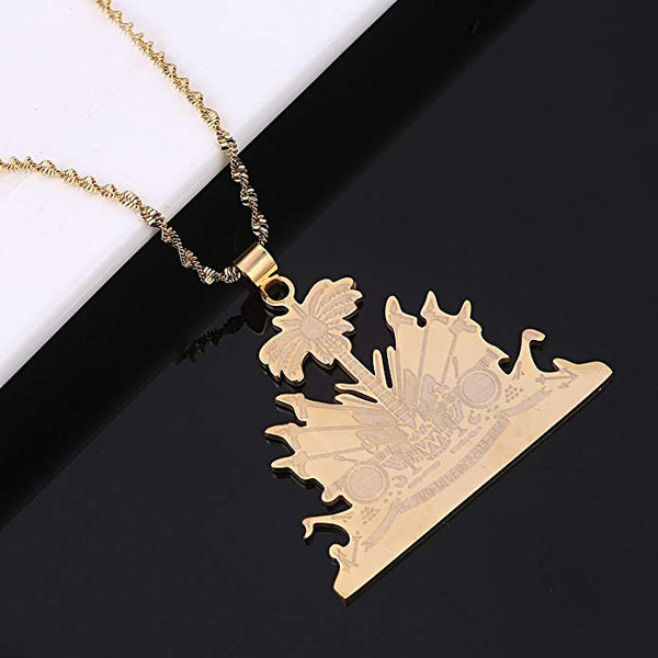 L'Union fait la force Haiti Map Pendant Necklace  (N-TF) - ebrook lael