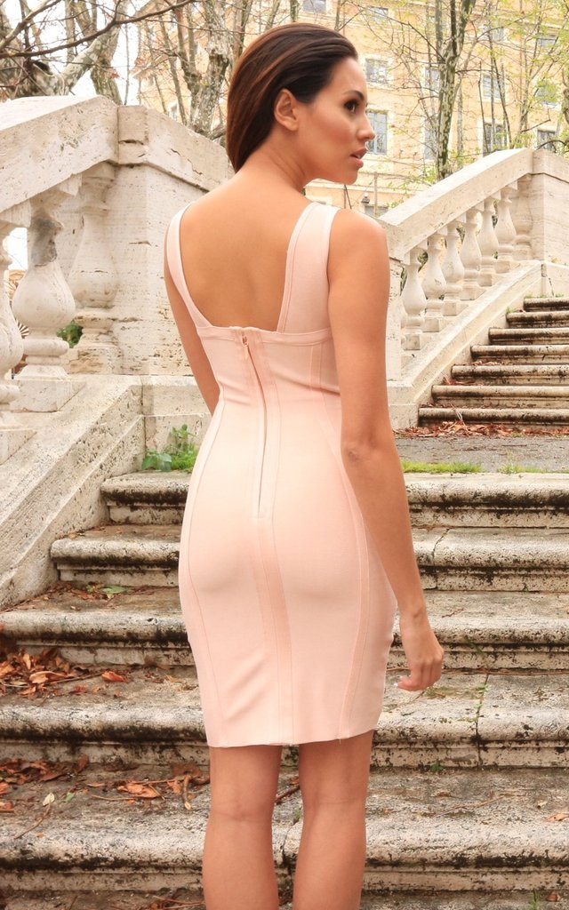 Meagan nude ribbed Bandage Dress - ebrook lael