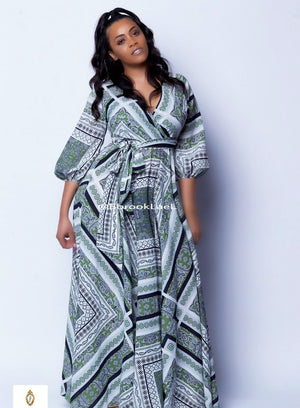 Lilith scarf printed wrapped front maxi dress - ebrook lael