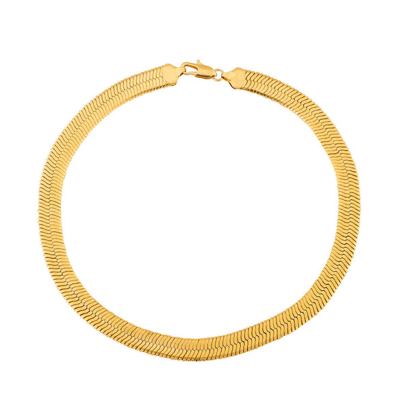 Herringbone Sleek Flat Choker 18k  Necklace (TF) - ebrook lael