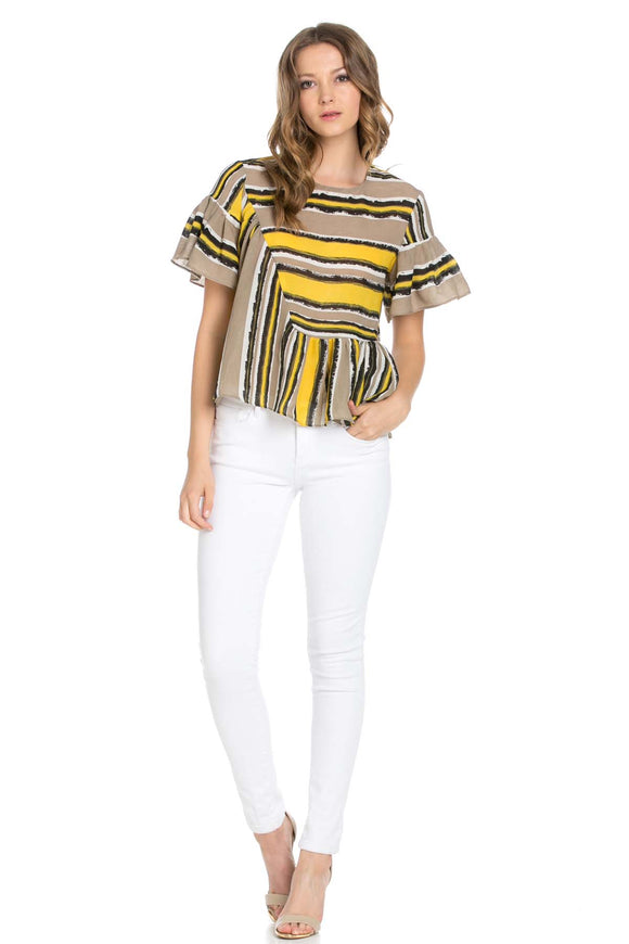 flared sleeve Asymmetrical Easy fit striped blouse - ebrook lael