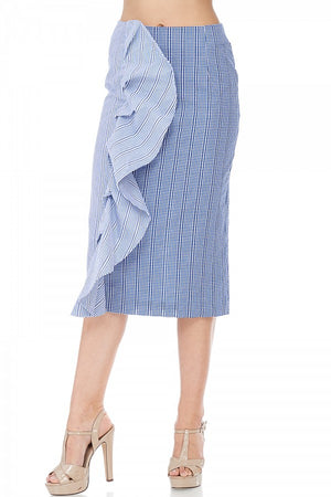 Alexis Pencil blue-hued side flare Skirt - ebrook lael