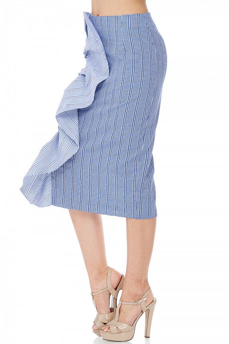 Alexis Pencil blue-hued side flare Skirt - ebrooklael