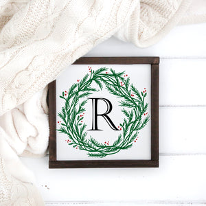 "Holly Wreath Monogram - 12"" x 12"""