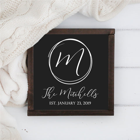 "Framed Family Monogram - 12"" x 12"""