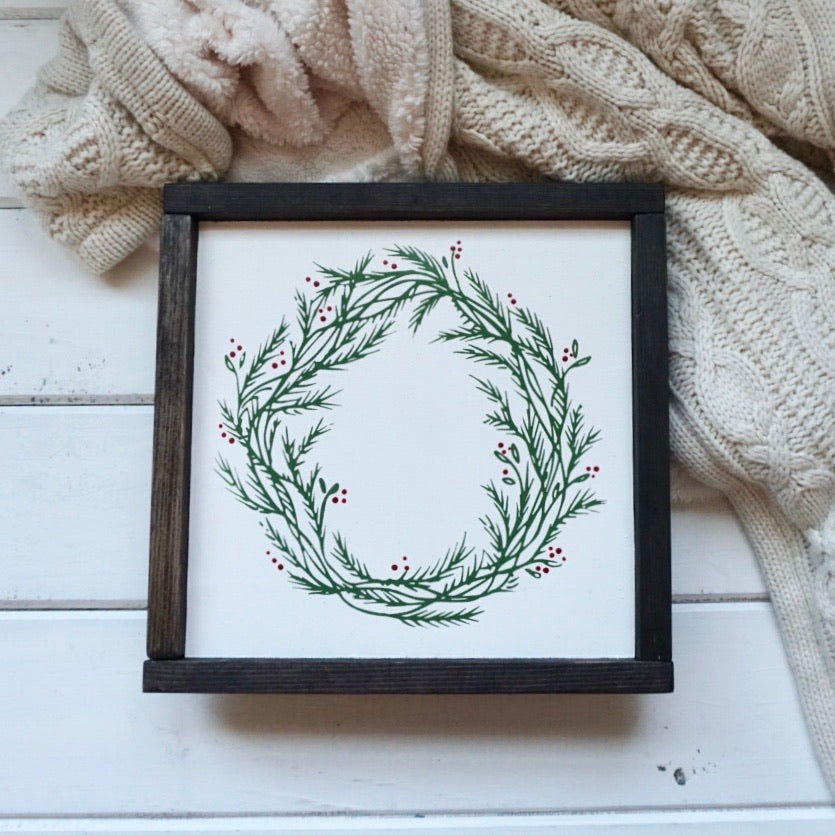 "Holly Wreath - 12"" x 12"" - Ready to Ship"