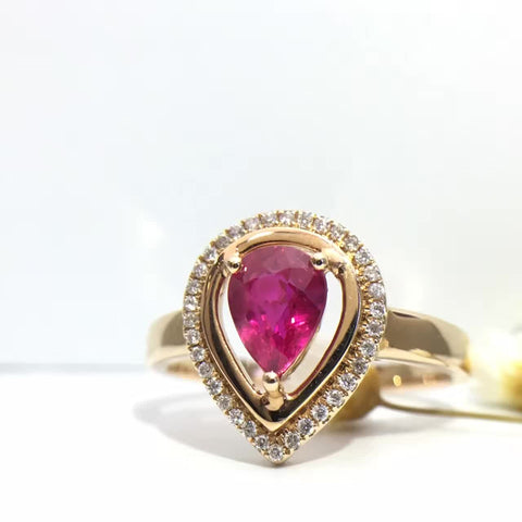 18K Gold Natural Ruby 0.982ct +0.099ct Diamond Women Ring