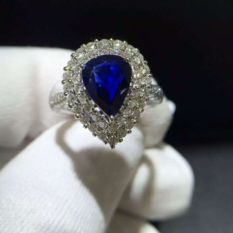 18K Gold Natural Sapphire 1.618ct with 0.838ct Diamond Setting Women Ring