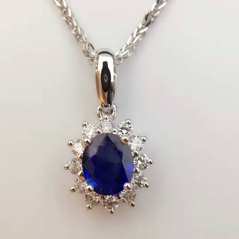 18K White Gold 0.582ct Natural Sapphire + 0.225ct Diamond Pendant Necklace