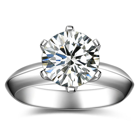 18K White Gold Classical 1.0ct Solitaire GIA Diamond 6-Claw Ring for Women