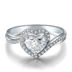 18K White Gold Heart Cut 0.40+0.30ct GIA Diamond Ring for Women