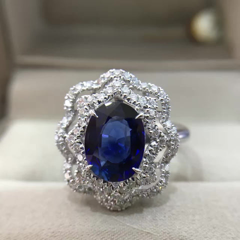 18K Gold Natural Sapphire 2.012ct with 0.461ct Diamond Setting Women Ring