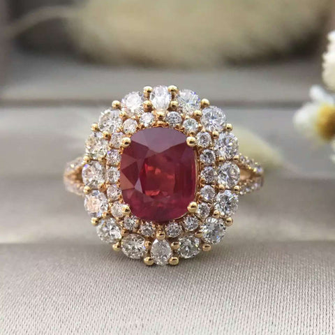 18K Gold 2.048ct Natural Ruby Women Ring with 1.384ct  Diamond Setting