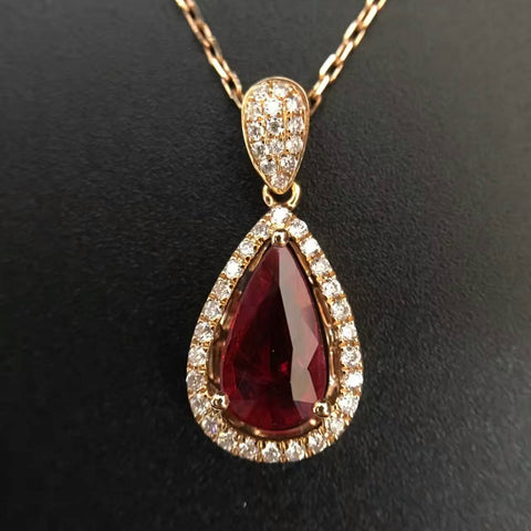 18K Gold 1.301ct Natural Ruby and 0.265ct Diamond inlaid Pendant Necklace