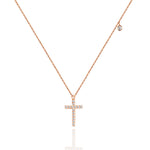 18 K Rose Gold Platinum Diamond Pendant Necklace Set