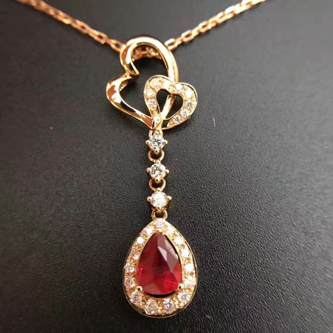 18K Gold Natural Ruby 0.654ct+0.24ct Diamond Pendant Necklace