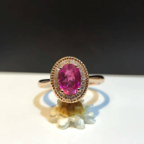18K Gold 1.017ct Natural Ruby and 0.112ct Diamond Women Ring