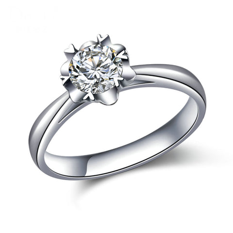 18K White Gold Classical 0.52ct Natural GIA Diamond Solitaire Engagement Ring