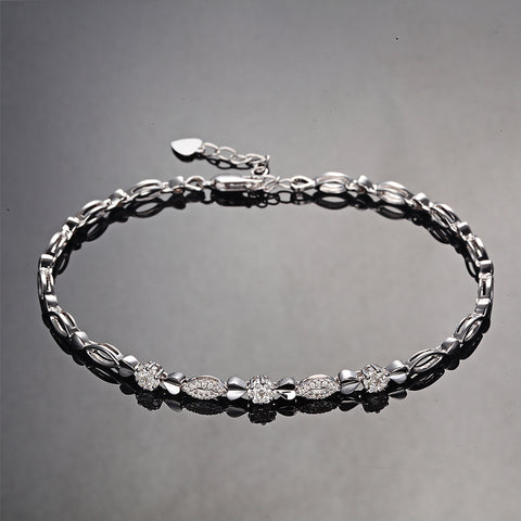 18K White Gold 0.03ct/45pcs Diamond Bracelet for Women