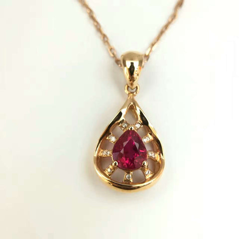 18K Gold Natural 0.992ct Ruby and 0.034ct Diamond Pendant Necklace