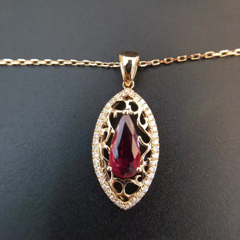 18K Gold Natural Ruby 1.212ct Pendant Necklace with 0.263ct Diamond