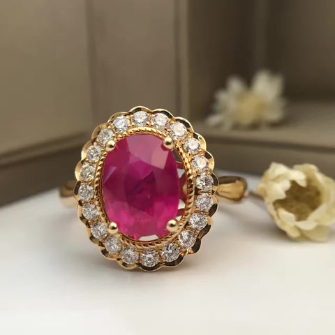 18K Gold Natural Ruby 2.419ct Women Ring with 0.412ct Diamond Setting