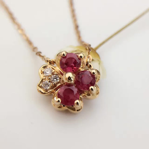 18K Gold with 0.665ct+0.035ct Natural Ruby Diamond Pendant Necklace