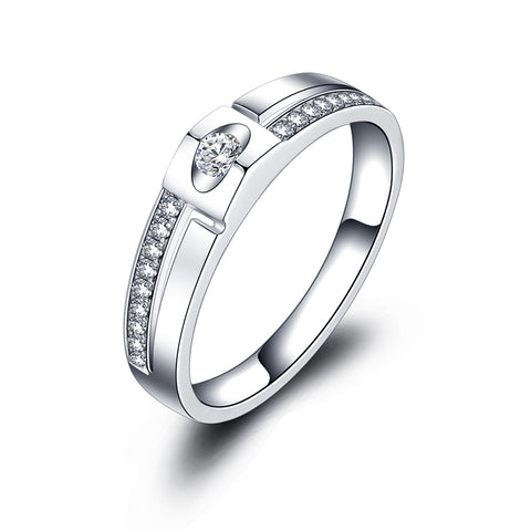 18k White Gold Ring with 1 Carat Genuine Diamond