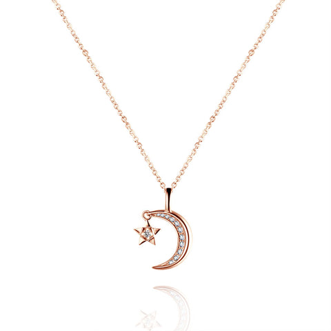 18K Gold Diamond Rose Gold Star Moon Pendant Necklace