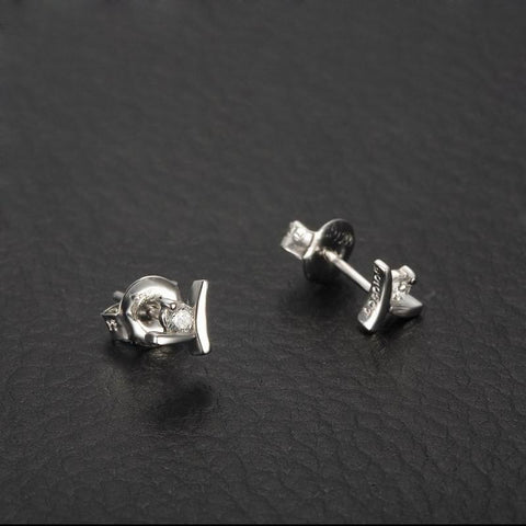 18K Gold Stud Earrings with 0.1carat Natural Diamond for Women