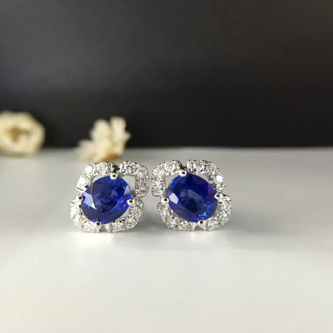 18K Gold Natural Sapphire Stud 1.454ct+0.244ct Encrusted Diamond Earrings for Women