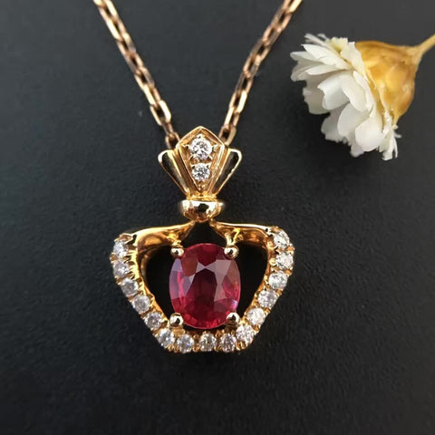 18K Gold Natural Ruby 0.5ct ruby+0.116ct diamonds Pendant Necklace