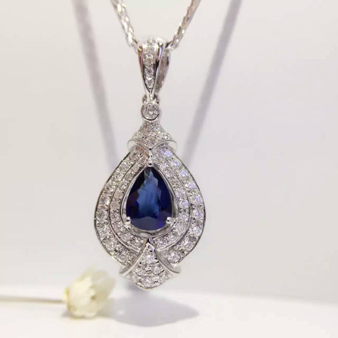 18K White Gold Natural Sapphire 0.68ct+0.42ct Diamond Pendant Necklace
