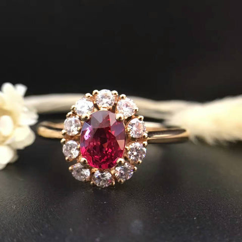 18K Gold 0.934ct Natural Ruby and 0.386ct Diamond Women Ring