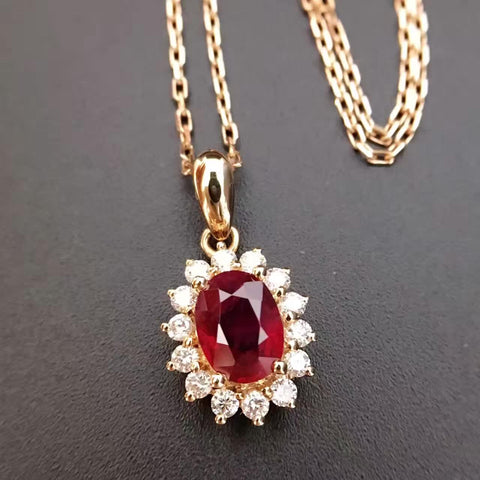 18K Gold and Natural Ruby 0.795ct+0.278ct Diamond Pendant Necklace