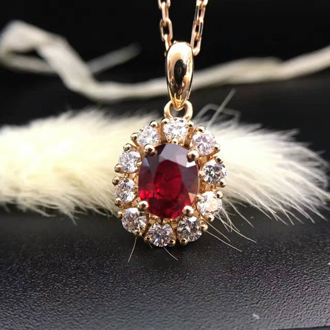 18K Gold 0.772ct Natural Ruby and 0.360ct Diamond Pendant Necklace
