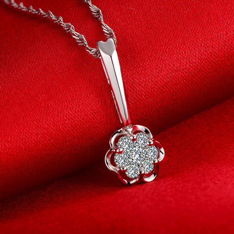 18K Gold 0.08ct/center stone+0.12ct/side stone Natural Diamond Pendant Necklace