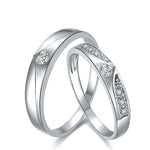 18K White Gold 0.05ct/0.08ct Diamond Wedding Ring Couple Set