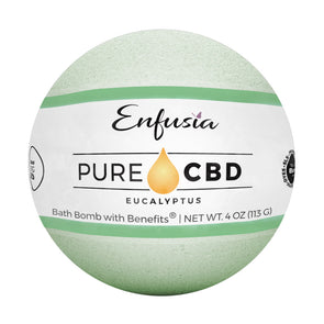 Pure CBD Eucalyptus Bath Bomb with the label on