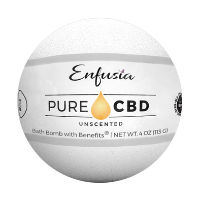 Pure CBD Unscented Bath Bomb with the label on