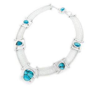 6 Stone Woven Turquoise and Silver Neckpiece by Original Sin Jewelry