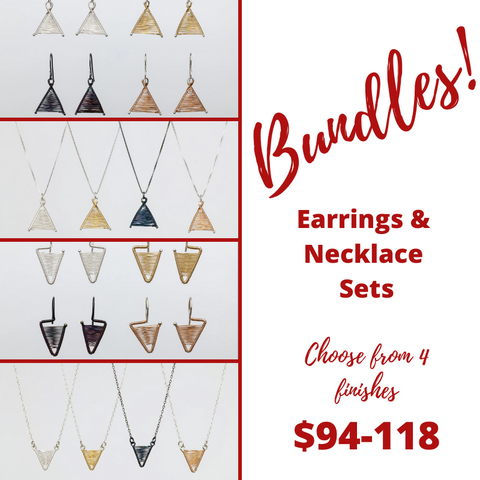 Bundles on tiny wishbone and shield earrings and necklace set from $94-118