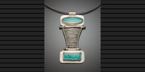 Fine Silver Woven 2 Stone Hinged Pendant