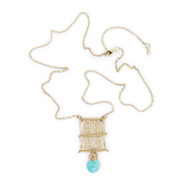 14 k Gold Woven Tapestry Necklace with Sleeping Beauty Turquoise