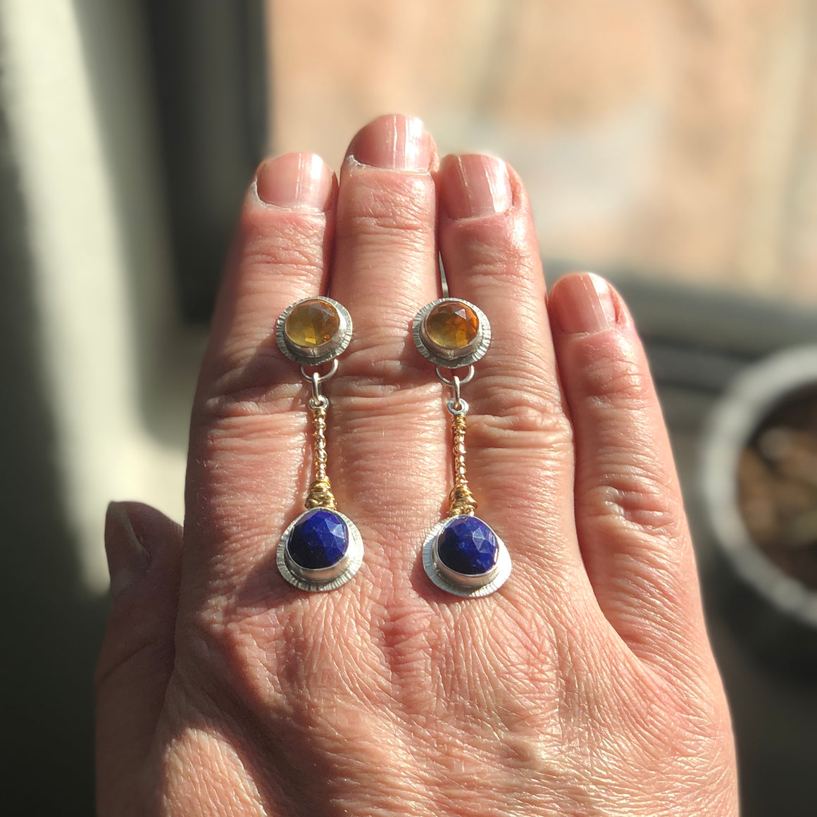 Custom Citrine and Lapis Silver and Gold Pendulum Nest Post Earrings